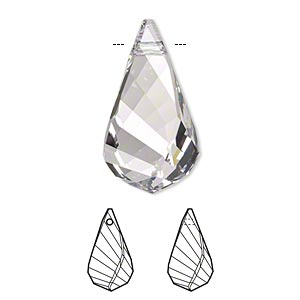 Focal, Swarovski® Crystals, Crystal Passions®, Crystal Clear, 30x16mm Faceted Helix Pendant (6020). Sold Individually 6020