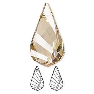 Focal, Swarovski® Crystals, Crystal Passions®, Crystal Golden Shadow, 30x16mm Faceted Helix Pendant (6020). Sold Individually 6020