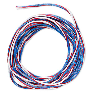 Cord, Satinique™, Nylon, Red / White / Blue, 2mm Regular Vertical Stripe. Sold Per 10-foot Section 6730BS