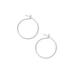 Hoop Earring Findings Silver Plated/Finished Silver Colored