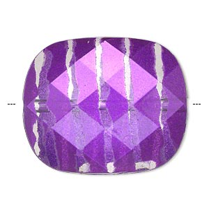 Bead, Painted Acrylic, Semitransparent Clear Purple, 34.5x29mm Faceted Rounded Rectangle. Sold Per Pkg 10