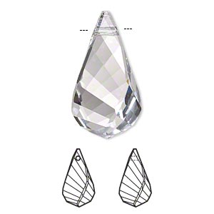 Focal, Swarovski® Crystals, Crystal Passions®, Crystal Clear, 37x21mm Faceted Helix Pendant (6020). Sold Individually 6020