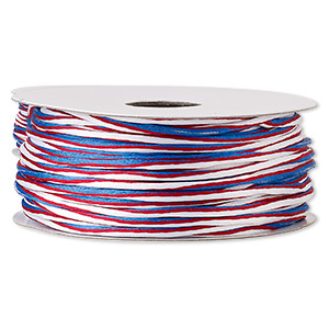 Cord, Satinique™, Nylon, Red / White / Blue, 2mm Regular Vertical Stripe. Sold Per 100-foot Spool 6761BS