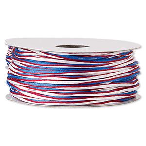 Cord, Satinique™, Nylon, Red / White / Blue, 2mm Regular Vertical Stripe. Sold Per 100-foot Spool 6761BS