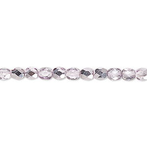 Bead, Czech Fire-polished Glass, Clear Half-coat Metallic Pink Silver, 4mm Faceted Round. Sold Per 16-inch Strand 152-19001-17-4mm-00030-97327