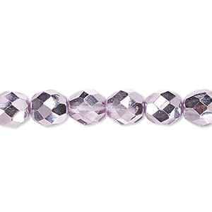 Bead, Czech Fire-polished Glass, Clear Half-coat Metallic Pink Silver, 8mm Faceted Round. Sold Per 16-inch Strand 152-19001-17-8mm-00030-97327