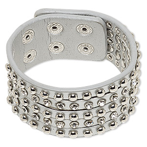 Bracelet, Glass Rhinestone / Imitation Leather / Imitation Rhodium-finished Steel, Silver Clear, 31mm Wide, Adjustable 7 8-1/4 Inches Double Snap Closure. Sold Individually 6806JD