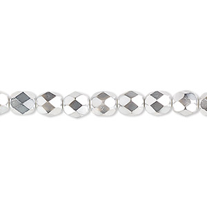 Bead, Czech Fire-polished Glass, Opaque Transparent Clear Half-coat Metallic Silver Chrome, 6mm Faceted Round. Sold Per 16-inch Strand 152-19001-17-6mm-00030-97302