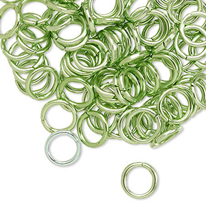 Jumpring, Anodized Aluminum, Green, 8mm Round, 5.4mm Inside Diameter, 16 Gauge. Sold Per Pkg 100