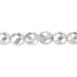 Bead, Czech Fire-polished Glass, Clear Half-coat Metallic Silver Chrome, 8mm Faceted Round. Sold Per 16-inch Strand 152-19001-17-8mm-00030-97302