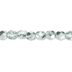 Bead, Czech Fire-polished Glass, Clear Half-coat Metallic Icy Teal, 6mm Faceted Round. Sold Per 16-inch Strand 152-19001-17-6mm-00030-97332