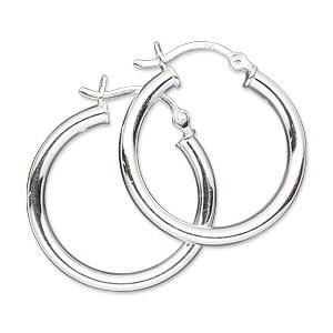 Earring Sterling Silver 25mm Round Hoop With Latch Back