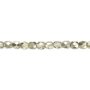 Bead, Czech Fire-polished Glass, Clear Half-coat Metallic Mint, 4mm Faceted Round. Sold Per 16-inch Strand 152-19001-17-4mm-00030-97353