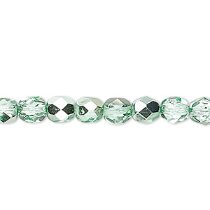 Bead, Czech Fire-polished Glass, Opaque Transparent Clear Half-coat Metallic Mint, 6mm Faceted Round. Sold Per 16-inch Strand 152-19001-17-6mm-00030-97353