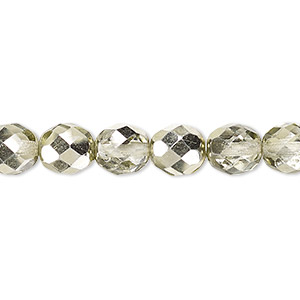 Bead, Czech Fire-polished Glass, Clear Half-coat Metallic Mint, 8mm Faceted Round. Sold Per 16-inch Strand 152-19001-17-8mm-00030-97353