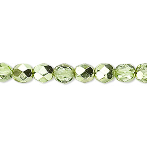 Bead, Czech Fire-polished Glass, Opaque Transparent Clear Half-coat Metallic Silver Green, 6mm Faceted Round. Sold Per 16-inch Strand 152-19001-17-6mm-00030-97354