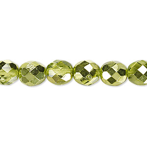 Bead, Czech Fire-polished Glass, Clear Half-coat Metallic Silver Green, 8mm Faceted Round. Sold Per 16-inch Strand 152-19001-17-8mm-00030-97354