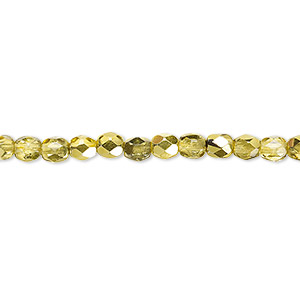 Bead, Czech Fire-polished Glass, Clear Half-coat Metallic Yellow Gold, 4mm Faceted Round. Sold Per 16-inch Strand 152-19001-17-4mm-00030-97385