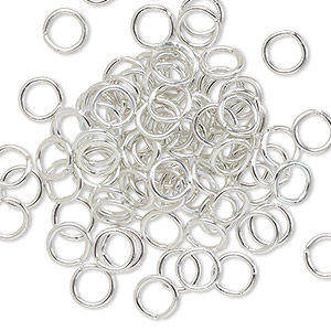 Jumpring, Anodized Aluminum, Silver, 6mm Round, 4.2mm Inside Diameter, 18 Gauge. Sold Per Pkg 100