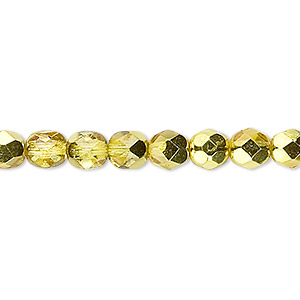 Bead, Czech Fire-polished Glass, Opaque Translucent Clear Half-coat Metallic Yellow Gold, 6mm Faceted Round. Sold Per 16-inch Strand 152-19001-17-6mm-00030-97385