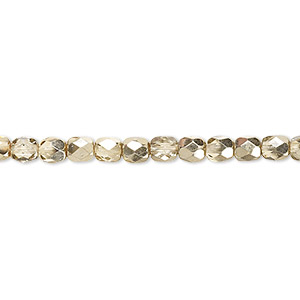 Bead, Czech Fire-polished Glass, Clear Half-coat Metallic Pale Gold, 4mm Faceted Round. Sold Per 16-inch Strand 152-19001-17-4mm-00030-97387