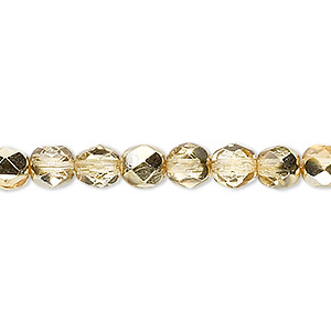 Bead, Czech Fire-polished Glass, Translucent Clear Half-coat Metallic Pale Gold, 6mm Faceted Round. Sold Per 16-inch Strand 152-19001-17-6mm-00030-97387
