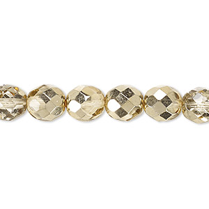 Bead, Czech Fire-polished Glass, Clear Half-coat Metallic Pale Gold, 8mm Faceted Round. Sold Per 16-inch Strand 152-19001-17-8mm-00030-97387