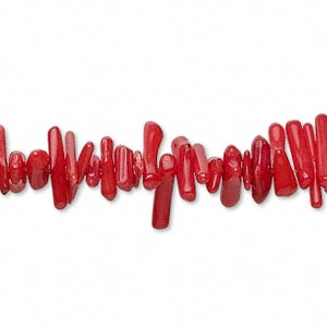 Bead, Bamboo Coral (dyed), Red, 5x2mm-15x4mm Cupolini, B Grade, Mohs Hardness 3-1/2 4. Sold Per 15-inch Strand