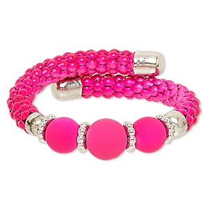 Bracelet, Acrylic / Silver-coated Plastic / Silver-finished Steel / Painted Steel Memory Wire, Neon Pink, 16mm Wide, Adjustable 6-1/2 7-1/2 Inches. Sold Individually 6860JD