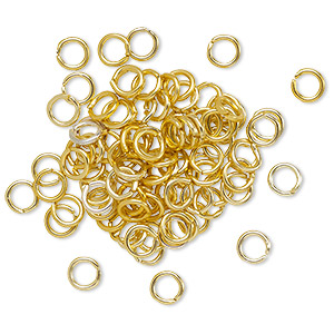 Open Jump Rings Aluminum Gold Colored
