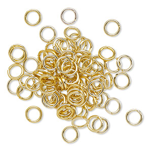 Jumpring, Anodized Aluminum, Gold, 5mm Round, 3.4mm Inside Diameter, 20 Gauge. Sold Per Pkg 100