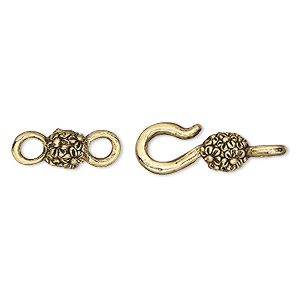 Clasp, Hook-and-eye, Antique Gold-plated Pewter (tin-based Alloy), 26x8mm Flowers. Sold Per Pkg (4) 2-piece Sets