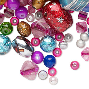 Bead Mix, Glass, Mixed Colors, 2-16mm Mixed Shape. Sold Per 1/4 Pound Pkg, Approximately 150-400 Beads