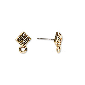 Earstud, Stainless Steel Antique Gold-plated Pewter (tin-based Alloy), 8x8mm Diamond Square Pattern Closed Loop. Sold Per Pkg 2 Pairs