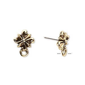 Earstud, Stainless Steel Antique Gold-plated Pewter (tin-based Alloy), 11x11mm Radiating Swirl Closed Loop. Sold Per Pkg 2 Pairs