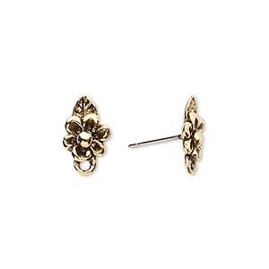 Earstud, Stainless Steel Antique Gold-plated Pewter (tin-based Alloy), 10x8mm Flower Closed Loop. Sold Per Pkg 2 Pairs