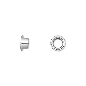 Grommet, Glue-in, Silver-plated Brass, 8mm Round, 5mm Inside Diameter. Sold Per Pkg 100
