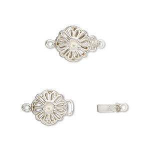 Clasp, JBB Findings, Tab, Sterling Silver, 10mm Round Flower Cup Peg. Sold Individually 4318LSH
