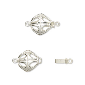 Clasp, JBB Findings, Tab, Sterling Silver, 10.5mm Open Round. Sold Individually 4327LSH CLASP