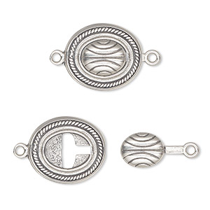 Clasp, JBB Findings, Tab Lock, Antiqued Sterling Silver, 16x14mm Oval Lines. Sold Individually 4734LAN