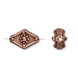 Bead, Antiqued Copper-plated Pewter (tin-based Alloy), 16x11mm Diamond. Sold Per Pkg 4