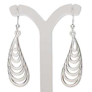 Fishhook Earrings Imitation rhodium-plated Silver Colored