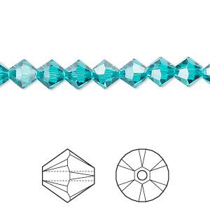 Bead, Swarovski® Crystals, Crystal Passions®, Blue Zircon, 6mm Xilion Bicone (5328). Sold Per Pkg 24 5328