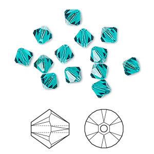 Bead, Swarovski® Crystals, Crystal Passions®, Blue Zircon, 8mm Xilion Bicone (5328). Sold Per Pkg 12 5328