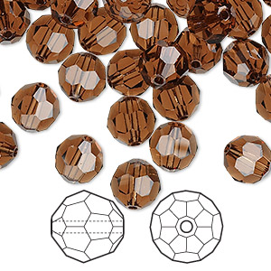 Bead, Swarovski® Crystals, Crystal Passions®, Smoked Topaz, 8mm Faceted Round (5000). Sold Per Pkg 144 (1 Gross) 5000