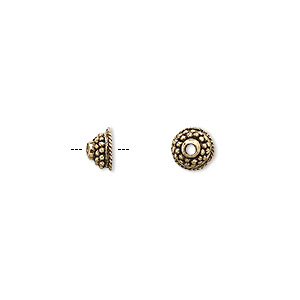 Bead Cap, Antique Gold-plated Pewter (tin-based Alloy), 6.5x3.5mm Beaded Round, Fits 5-7mm Bead. Sold Per Pkg 10