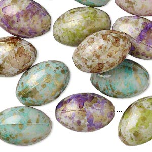 Bead Mix, Acrylic, Mixed Colors, 17x12mm Oval Speckles 1.5-2mm Hole. Sold Per Pkg 50
