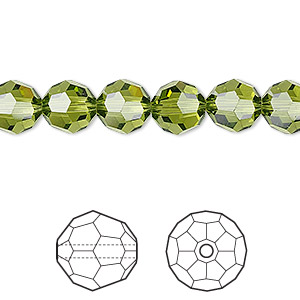 Bead, Swarovski® Crystals, Crystal Passions®, Olivine, 8mm Faceted Round (5000). Sold Per Pkg 12 5000