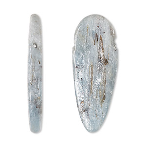 Bead, Blue Kyanite (natural), 25x10mm-40x12mm Top-drilled Freeform, C Grade, Mohs Hardness 4 7-1/2. Sold Individually 6973NB