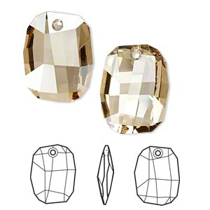 Focal, Swarovski® Crystals, Crystal Passions®, Crystal Golden Shadow, 38x28mm Faceted Graphic Pendant (6685). Sold Individually 6685